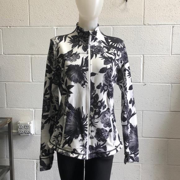 lululemon athletica Jackets & Blazers - Lululemon black & white floral jacket sz 12 61967